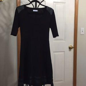Calvin Klein Black and Pleather Dress.